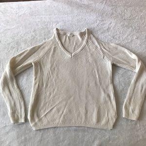 cold-shoulder cream sweater | size: x-small